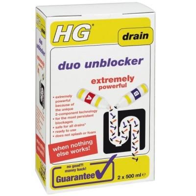 HG Duo Drain unblocker 500ml (x2)